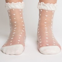 SMALL HEARTS AND DOTS SHEER ANKLE SOCKS