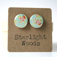 Blue floral studs post earrings wood earrings shabby chic jewelry eco fashion eco friendly unique gift for her