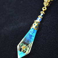 Blue Icicle Drop Resin Necklace Watch Parts Filigree Charm Swarovski Bead Pendant Final Fantasy Image Necklace Whimsical Neo Victorian Style