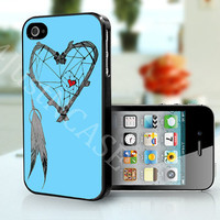 Heart Dream Catcher Blue Background- iPhone 4, iPhone 4s case