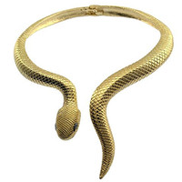 Over The Top Texture Curvy Snake Serpent Back-Hinge Collar Choker Necklace Gold Plated
