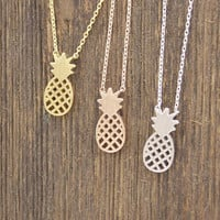 Cute Pineapple pendant necklaces in 3 colors, N0116K