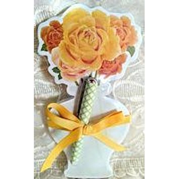 Yellow Floral Notepad with Pen