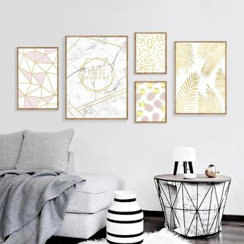 Original Nordic Style Paintings Fashion Posters Yellow Leaf Pineapple Geometry Canvas Pictures Decor Living Room Wall Art Prints