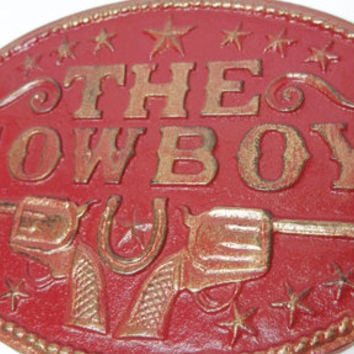 THE COWBOY, Plaque, Sign, Guns, Horseshoe, Stars, Mancave, Red, Gold, Gifts for Men