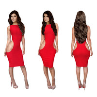 Red Side Cut-Out Bodycon Midi Dress