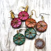 Colorful Button Earrings