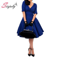 Sisjuly Bodycon Pin Up Summer Dress 1950s Party Rockabilly Dress Vintage Royal Blue Dress
