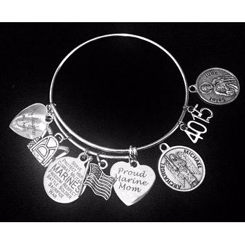 Personalized Marine Daughter Gift for Marine Mom Saint Jude Saint Micheal Expandable Charm Bracelet Silver Adjustable Bangle One Size Fits All Gift USA Military USMC