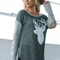 French Terry Reindeer Sweater