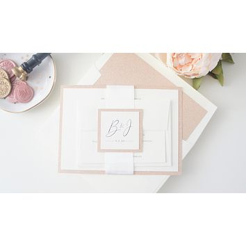 Elegant Rose Gold Wedding Invitation - DEPOSIT