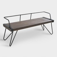 Industrial Metal and Walnut Wood Cassie Bench