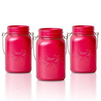 BLOWOUT (6-Pack) Fantado Regular Mouth Frosted Fuchsia / Hot Pink Color Mason Jar w/ Handle, 16oz / 1 Pint