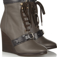 Chloé Shearling-lined leather wedge ankle boots – 50% at THE OUTNET.COM