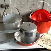 Perfect for Glamping.  Camp Kettle Cook Set by Sears Roebuck and Co. Includes cookbook.