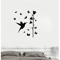 Vinyl Decal Bird Butterfly Flower Beautiful Bedroom Decor Wall Stickers Unique Gift (ig2699)
