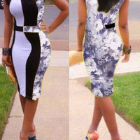 Floral Print Sleeveless Bodycon Midi Dress