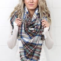 Cozy Plaid Blanket Scarf {Blue Mix}