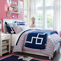 Trellis Twist Duvet Cover + Sham, Bright Pink/Royal Navy