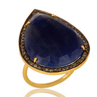 18K Yellow Gold Sterling Silver Blue Sapphire Cocktail Ring With Diamond Accent