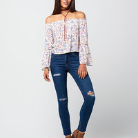 SEE YOU MONDAY Floral Off The Shoulder Womens Top | Blouses