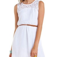 Belted Lace Inset Gauzy Dress: Charlotte Russe