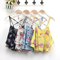 summer fashion new 1Pc Sleeveless Women Camis Cropped Spaghetti Strap Crop Tank Top Floral Blouse