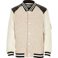 River Island Boys beige leather-look contrast bomber