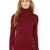 Lauren Ralph Lauren Metallic Striped Turtleneck Sweater
