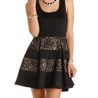 Sleeveless Lace-Striped Skater Dress by Charlotte Russe - Black Combo