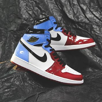 Air Jordan 1 red and blue colorblock patent leather high-top sneakers basketball shoes