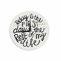 """Pom Graphic Design """"Today Is The First Day"""" Black Gold Typography Illustration Wall Clock"""