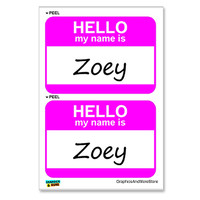 Zoey Hello My Name Is - Sheet of 2 Stickers