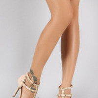 Women's Wild Diva Lounge Studded Straps Pointy Toe Pump