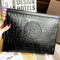 Fendi  New fashion metal leopard head more letter print leather couple zipper clutch bag file package cosmetic bag handbag Black