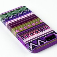 DandyCase 2in1 Hybrid High Impact Hard Aztec Tribal Pattern + Purple Silicone Case Cover For Apple iPhone 5S & iPhone 5 (not 5C) + DandyCase Screen Cleaner