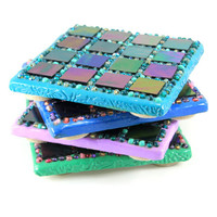 Detailed, Handmade Tile Coasters, Set of 4, Handmade Tiles, Turquoise, Green, Purple, Blue, Coffee Coaster, Tile Art, Tile Coasters