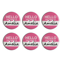 Amelia Hello My Name Is Plastic Resin Button Set of 6