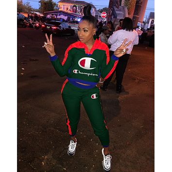 Champion Popular Women Leisure Round Collar Logo Print Pullover Sweater Pants Trousers Set Two-Piece