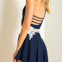 Navy Cami Playsuit with Lace Details