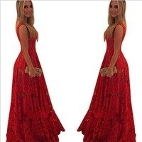 Red Lace Sexy Party Prom Dress [8096855431]