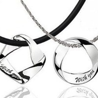 """""""With You"""" Couples Pendant Necklace Set with Black Cord and Singapore Chain"""