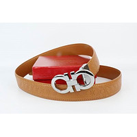 Salvatore Ferragamo Belt Fashion Contracted Smooth Gancio Buckle Belt Leather Belt109