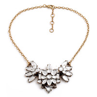 Women Crystal Faced Clear Floral Necklace
