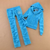Juicy Couture Studded Jc Logo Crown Velour Tracksuit 8605 2pcs Women Suits Sky Blue