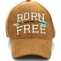 Faux Suede Born Free and Arrow Ball Cap - 2 Color Choices