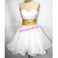 2014 white tulle homecoming dress with gold waist,cute sweetheart prom dresses fow women,cheap chic holiday party gowns under 150.