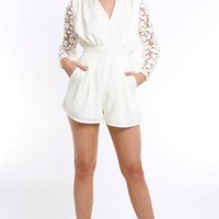 White Jump Suit/ Romper with Long Floral Sleeves