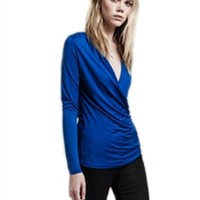 Lanston Long Sleeve Surplice Top | ShopAmbience