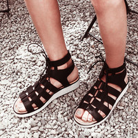 BLACK LACED UP SANDALS